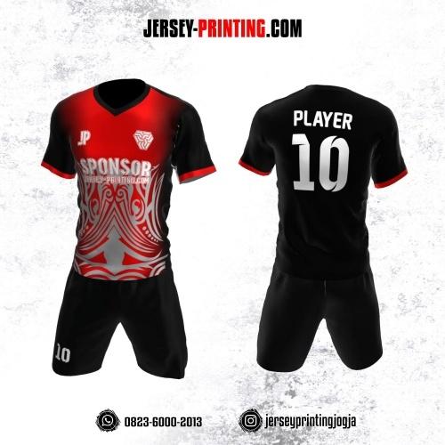 Jersey Futsal Hitam Merah Abu-abu Motif Batik