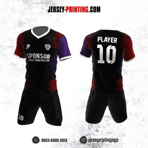 Jersey Futsal Hitam Merah Ungu Motif Trigonal