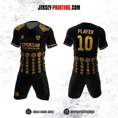 Jersey Futsal Hitam Motif Batik Emas