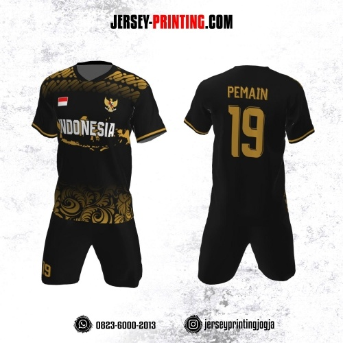 Jersey Futsal Hitam Motif Batik Kuning