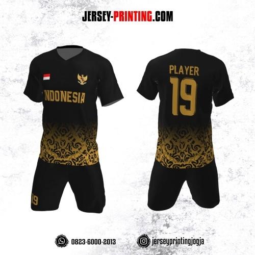 Jersey Futsal Hitam Motif Batik Kuning Emas