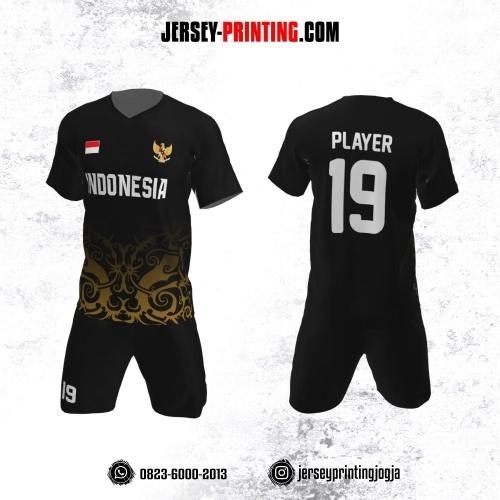 Jersey Futsal Hitam Motif Batik Superior Gold