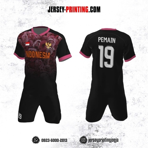Jersey Futsal Hitam Motif Bunga Pink