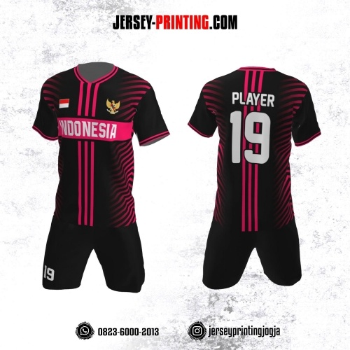 Jersey Futsal Hitam Motif Strip Pink