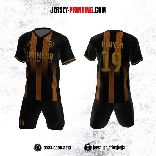 Jersey Futsal Hitam Motif Stripe Emas