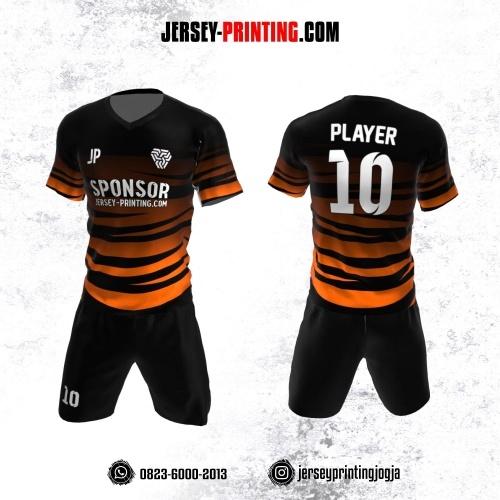 Jersey Futsal Hitam Orange Motif Loreng