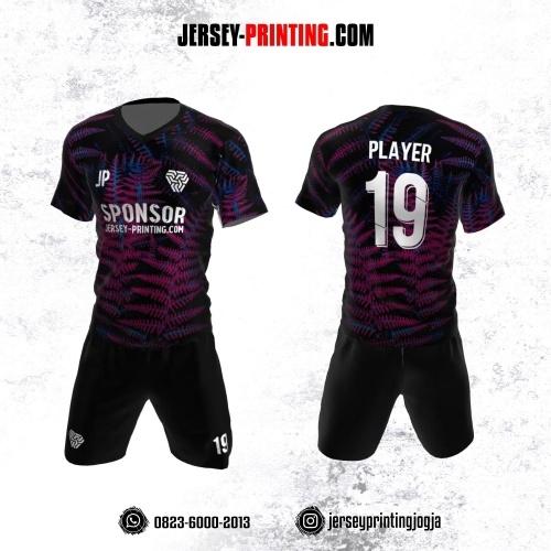 Jersey Futsal Hitam Pink Biru Motif Daun