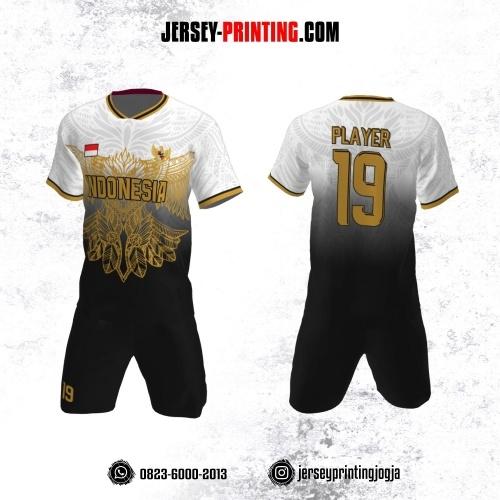 Jersey Futsal Hitam Putih Motif Pola Burung Garuda Kuning