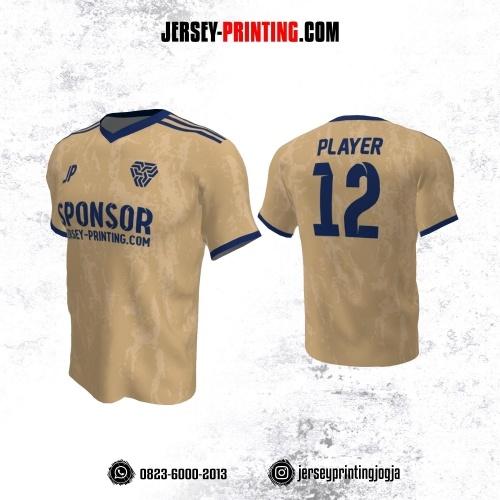 Jersey Futsal Krem Biru Motif Brush