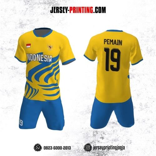 Jersey Futsal Kuning Biru Motif Abstrak