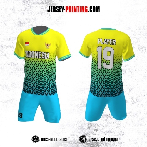Jersey Futsal Kuning Biru Motif Seamless Hitam