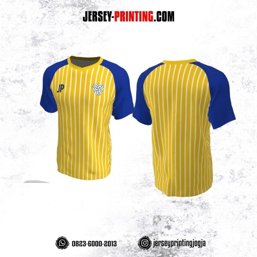 Jersey Futsal Kuning Biru Motif Stripe Putih