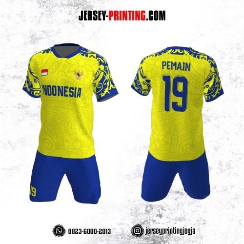 Jersey Futsal Kuning Biru Navy Motif Batik