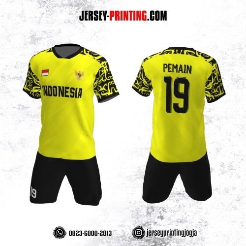 Jersey Futsal Kuning Hitam Motif Batik