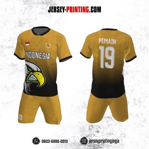 Jersey Futsal Kuning Kunyit Hitam Motif Pola Bunga dan Burung Elang