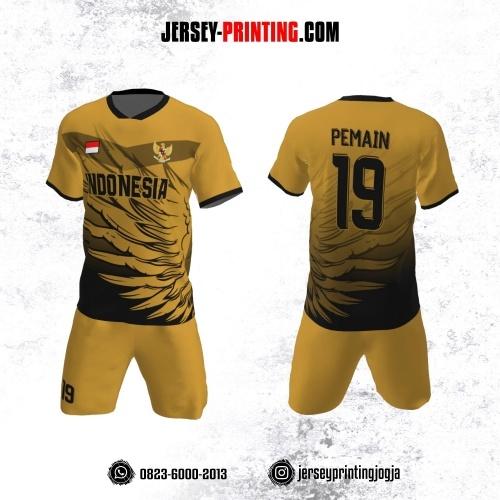 Jersey Futsal Kuning Kunyit Hitam Motif Sayap