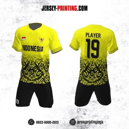 Jersey Futsal Kuning Motif Batik Hitam