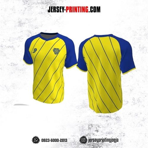 Jersey Futsal Kuning Motif Garis Diagonal Biru