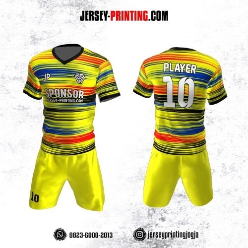 Jersey Futsal Kuning Motif Garis Hitam Merah Biru