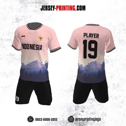 Jersey Futsal Lukisan Pemandangan Pink