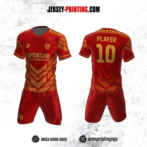 Jersey Futsal Merah Emas Motif Strip