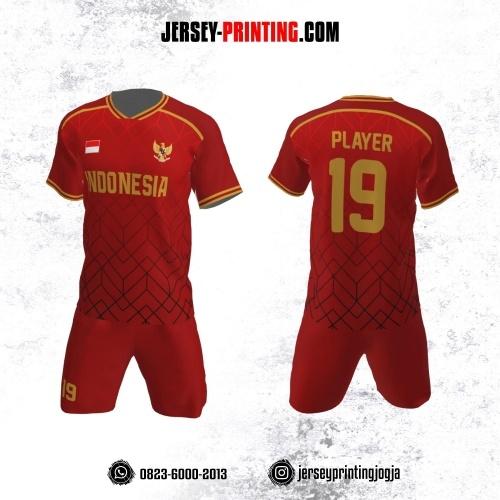 Jersey Futsal Merah Hitam Kuning Motif Geometris Abstrak