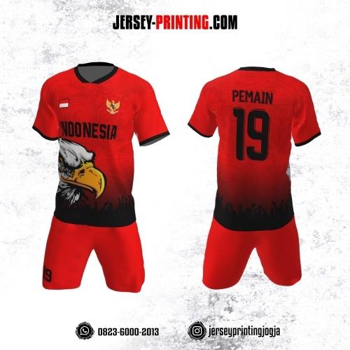 Jersey Futsal Merah Hitam Motif Batik dan Burung Elang