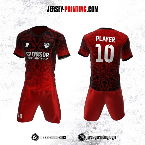 Jersey Futsal Merah Hitam Motif Floral