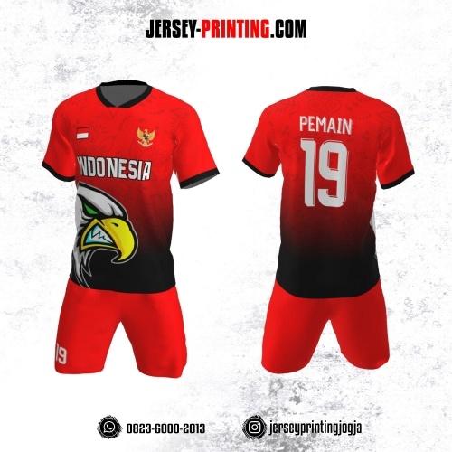 Jersey Futsal Merah Hitam Motif Pola Bunga dan Burung Elang