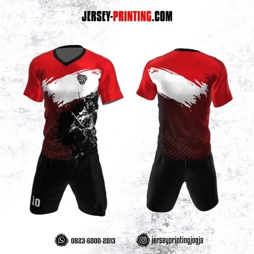 Jersey Futsal Merah Hitam Putih Motif Brush