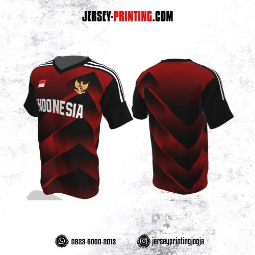 Jersey Futsal Merah Hitam Putih Motif Gradasi