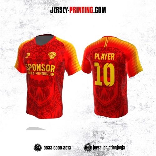 Jersey Atasan Badminton Volly Lari Futsal Merah Kuning Motif Barong Bali