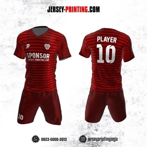 Jersey Futsal Merah Maroon Motif Stripe
