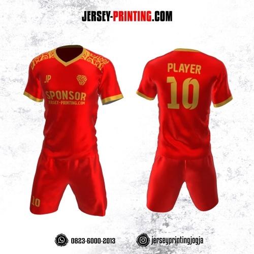 Jersey Futsal Merah Motif Batik Emas