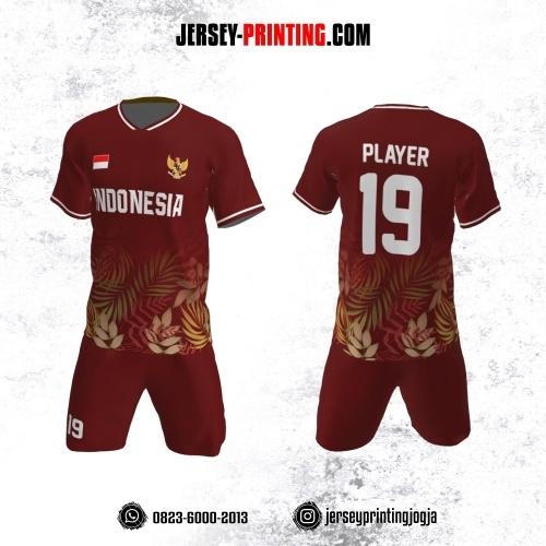 Jersey Futsal Merah Motif Flora Hijau Kuning