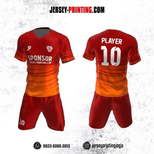 Jersey Futsal Merah Orange Motif Loreng