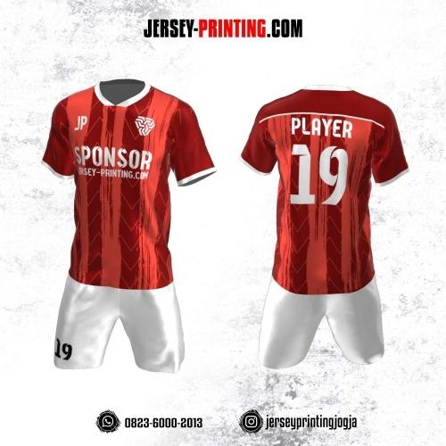 Jersey Futsal Merah Putih Motif Brush dan Zigzag