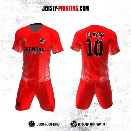 Jersey Futsal Merah Putih Motif Garis