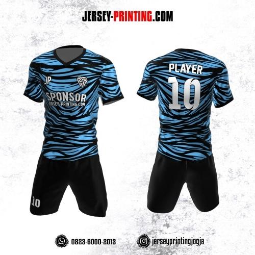Jersey Futsal Motif Abstrak Hitam Biru