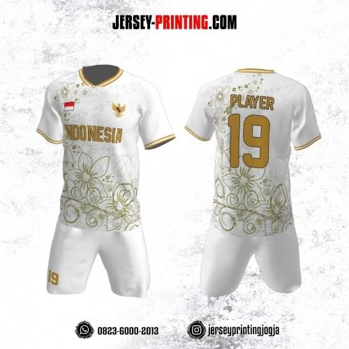 Jersey Futsal Motif Batik Gold Putih