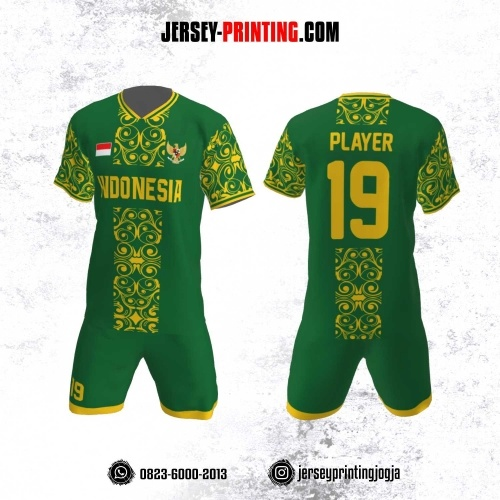 Jersey Futsal Motif Batik Hijau Kuning