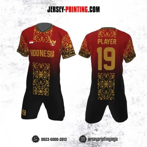 Jersey Futsal Motif Batik Hitam Emas
