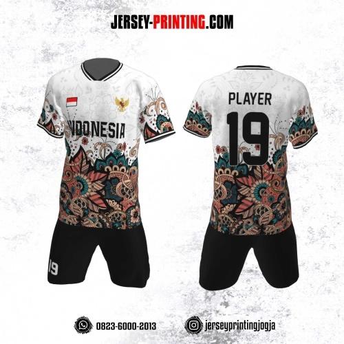 Jersey Futsal Motif Batik Hitam Putih