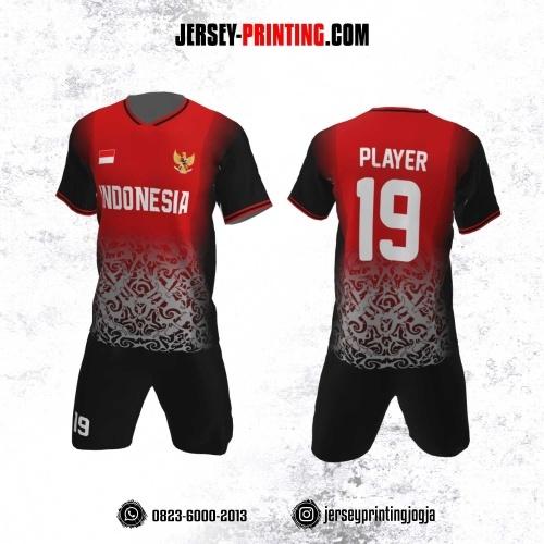 Jersey Futsal Motif Batik Merah Abu-Abu