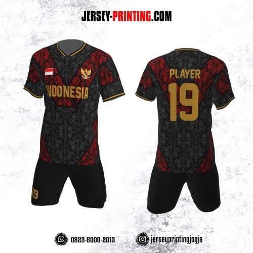 Jersey Futsal Motif Batik Merah Hitam 2