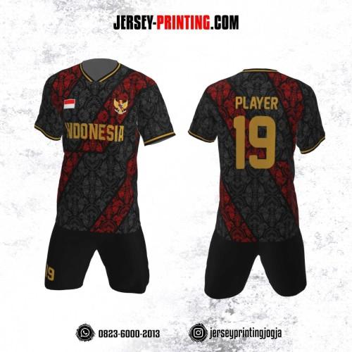 Jersey Futsal Motif Batik Merah Hitam