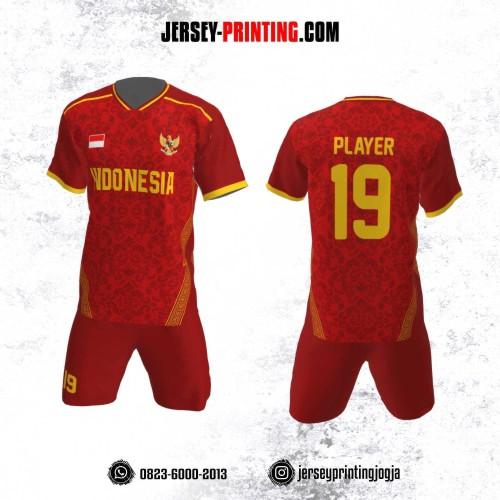 Jersey Futsal Motif Batik Merah Strip Kuning