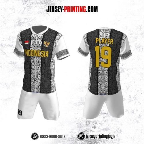 Jersey Futsal Motif Batik Putih Abu-abu