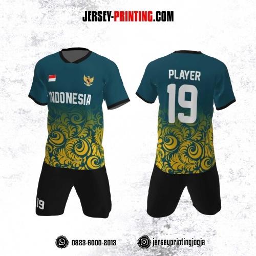 Jersey Futsal Motif Batik Teal Kuning