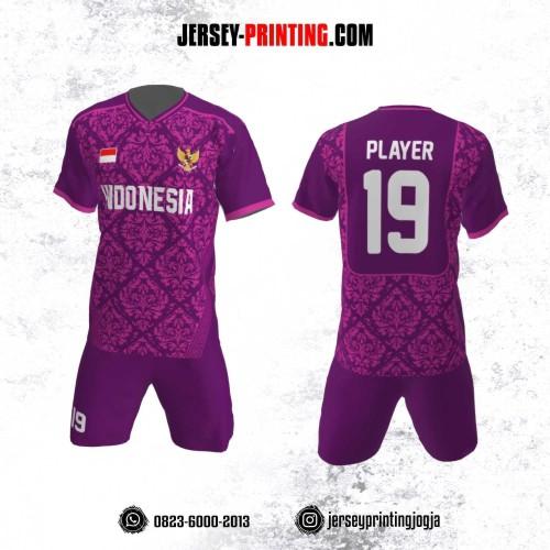 Jersey Futsal Motif Batik Ungu Pink